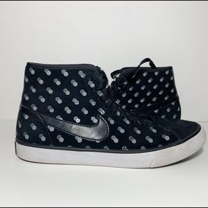 Black and Gray Polka Dot Suede Hi-Top Sneakers